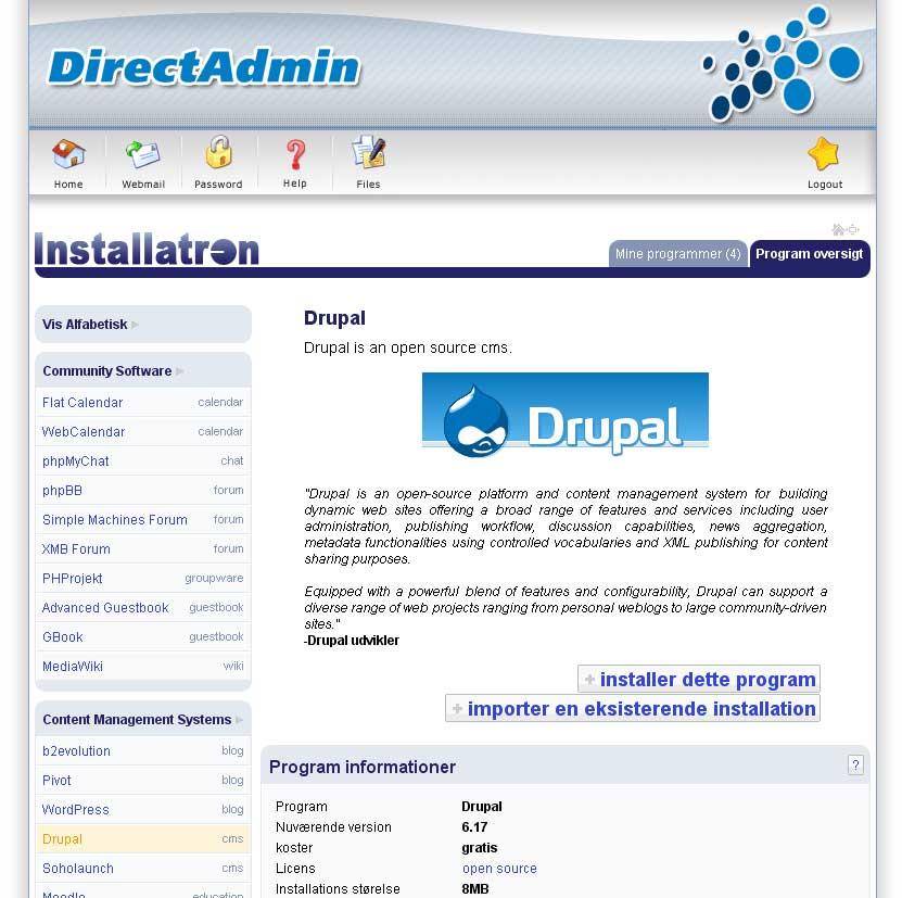 1-klik installation hos MegaHost programoversigt