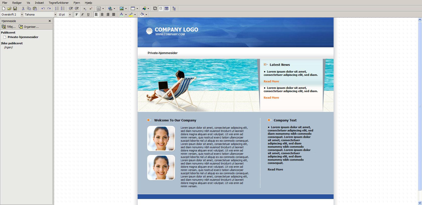 Ændring af hjemmeside via hjemmeside programmet hos One