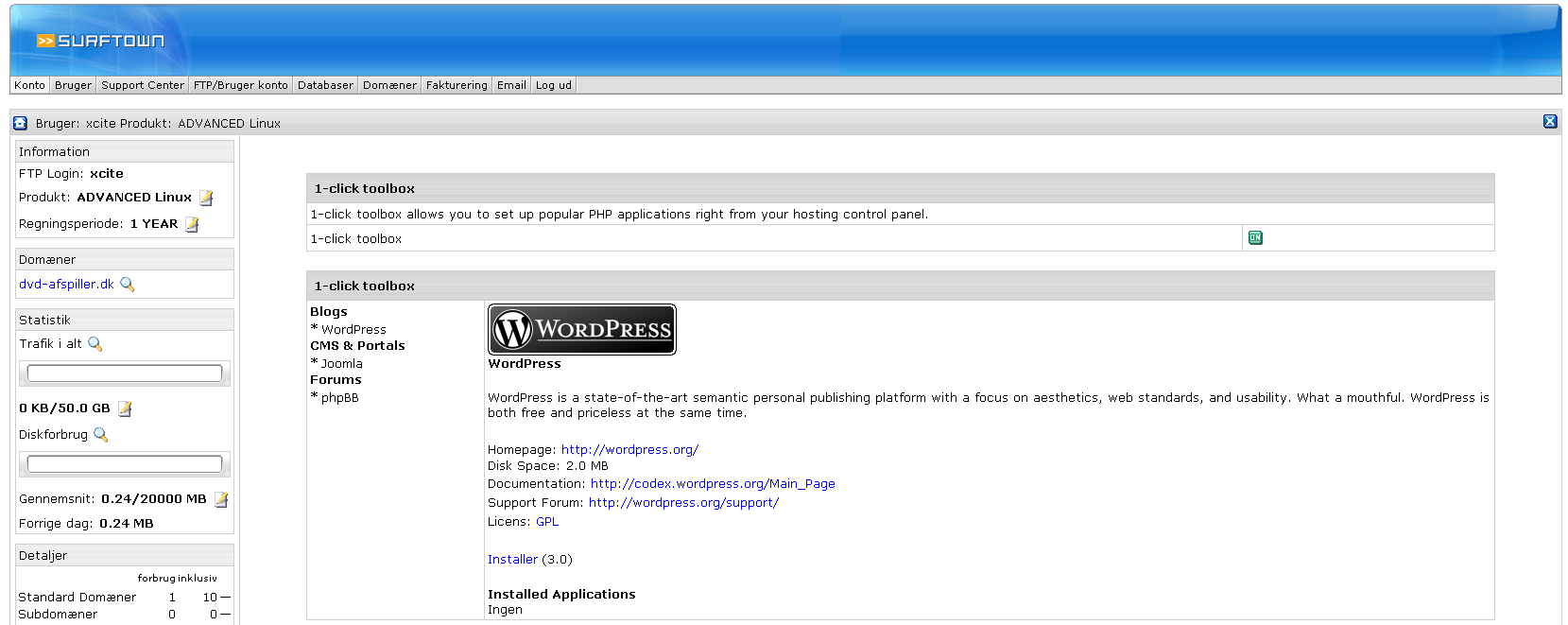 Info om WordPress hos Surftown