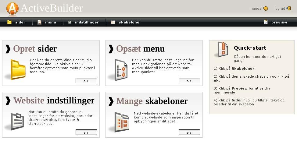 Hjemmesideprogram hos webhotellet Web10