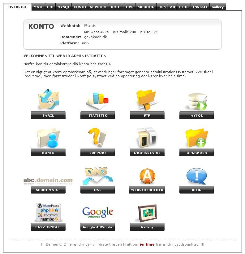 Web10 kontrolpanel