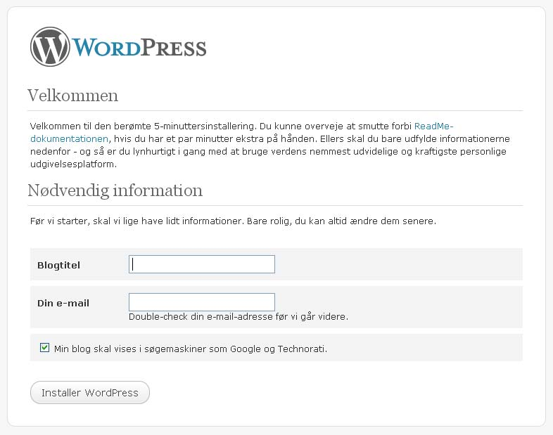 Wordpress hos webhotellet Web10
