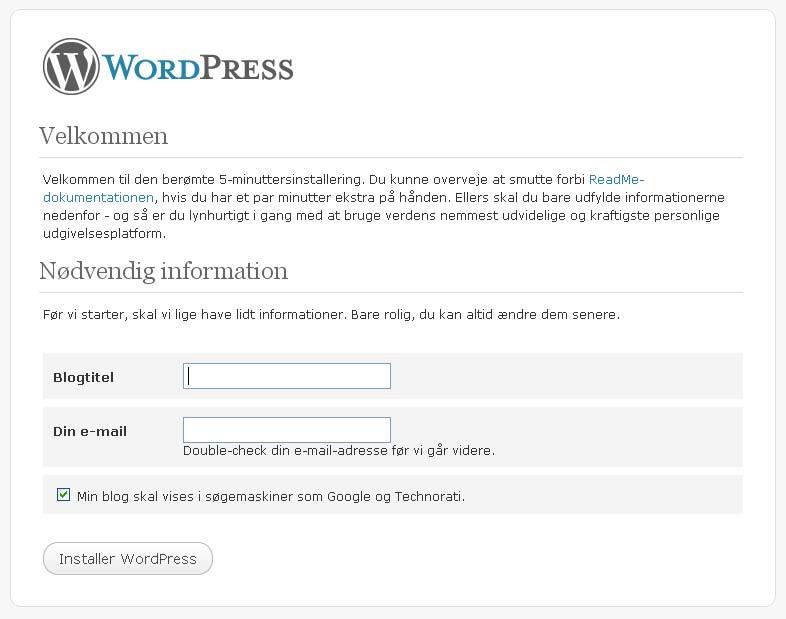 Wordpress hos webhotellet Web10