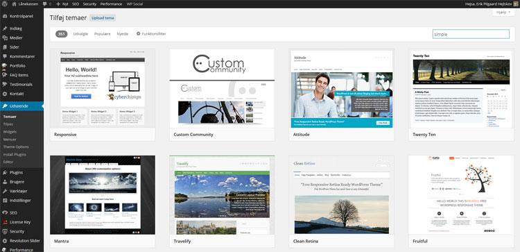 Installation af temaer i WordPress