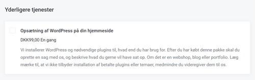 Tilvalg: Opsætning af WordPress på din hjemmeside