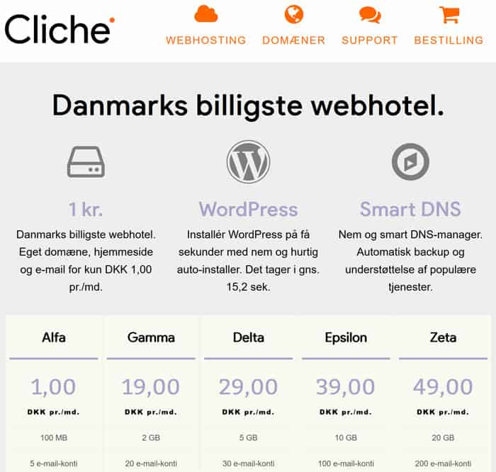 Webhotel hos Cliche